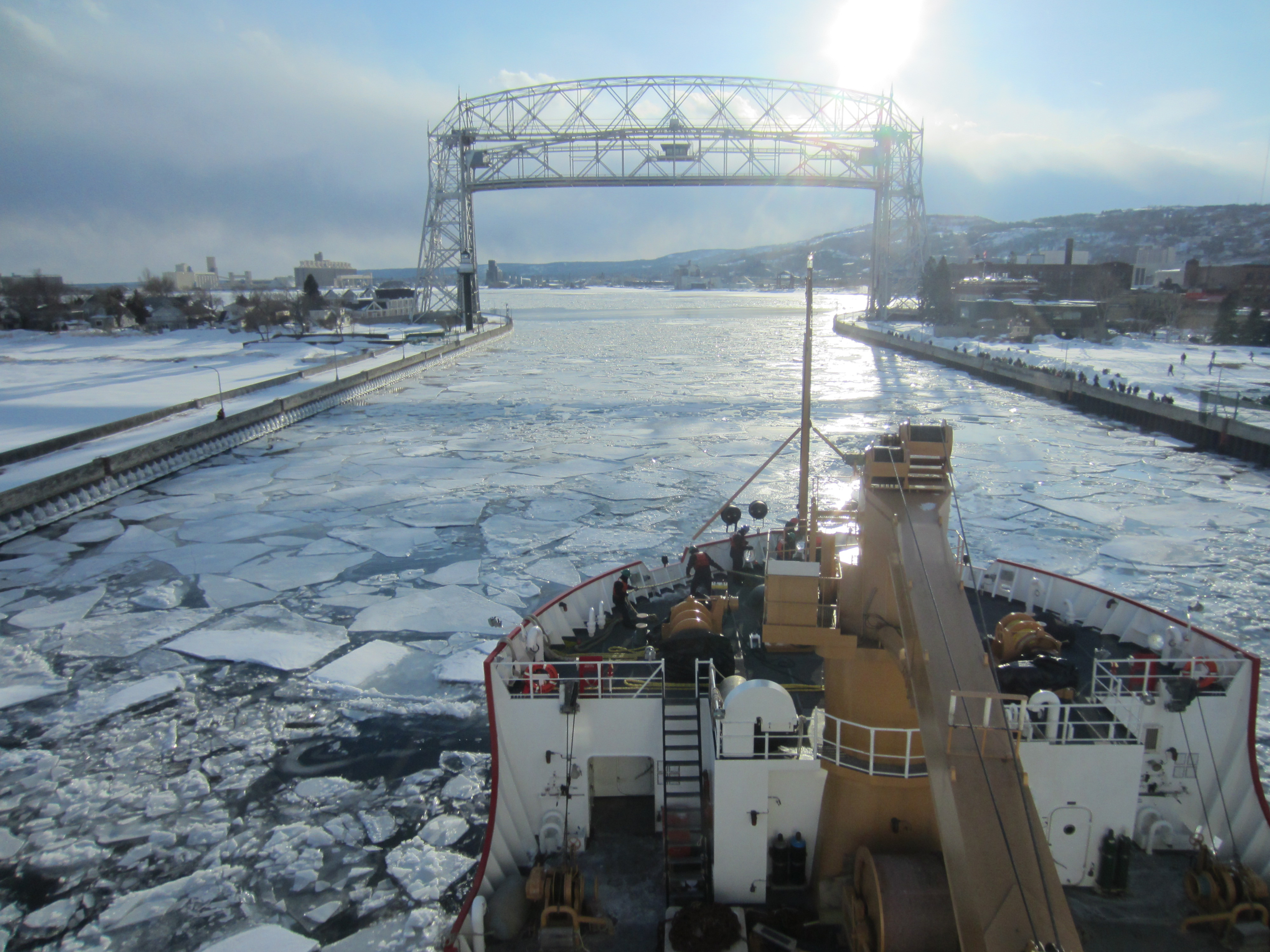 The USCGC Mackinaw arrives in Duluth via Lake Superior. March 24, 2014
