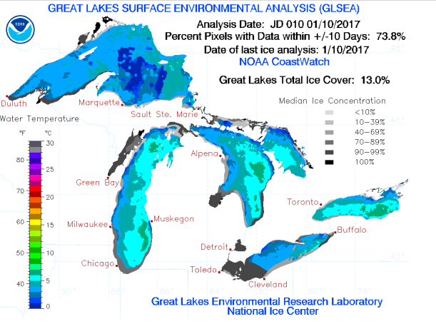 GLSEA total ice cover analysis for January 10, 2017