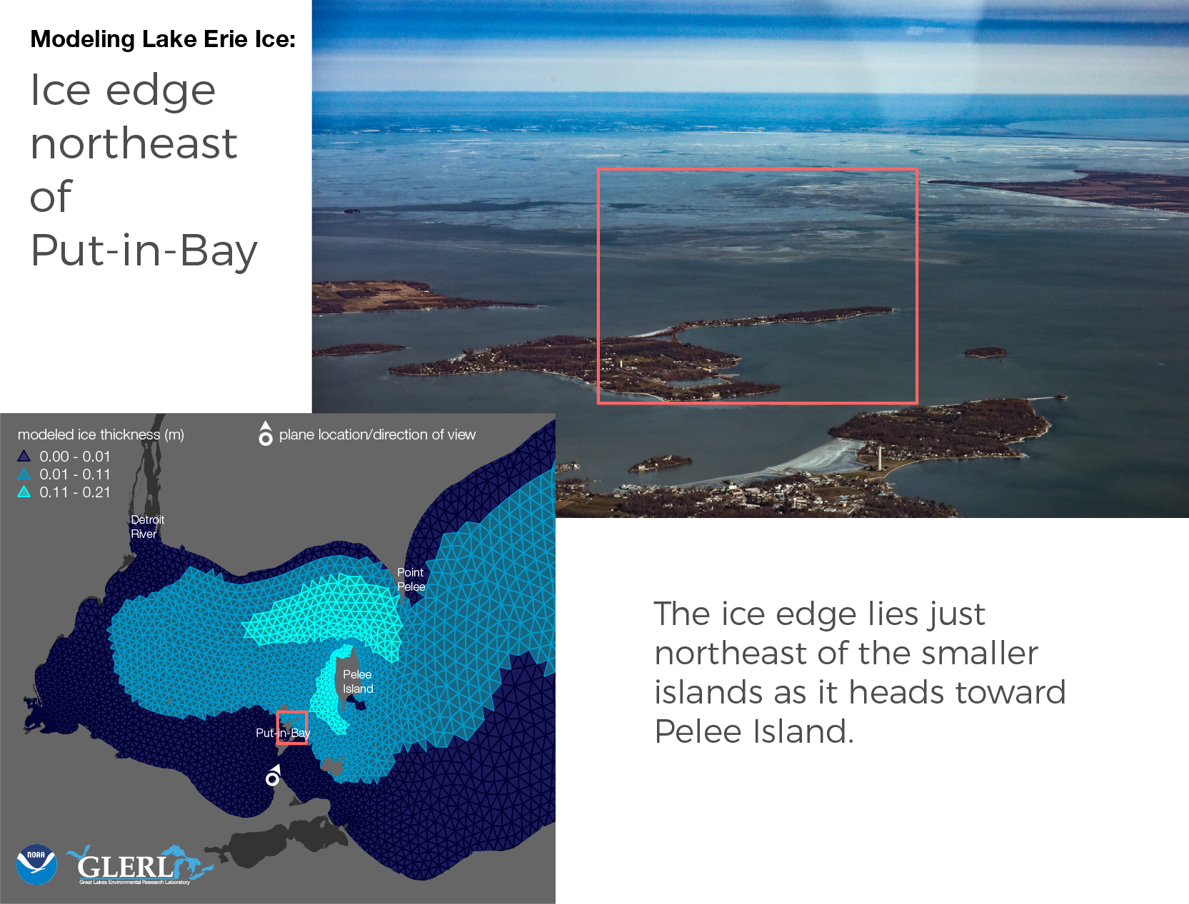 Ice edge northeast of Put-in-Bay: The ice edge lies just northeast of the smaller islands as it heads toward Pelee Island.