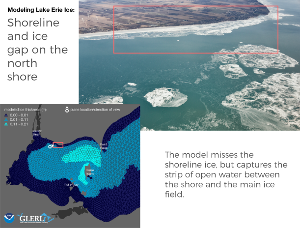 Shoreline and ice gap on the north shore: The model misses the shoreline ice, but captures the strip of open water between the shore and the main ice field.
