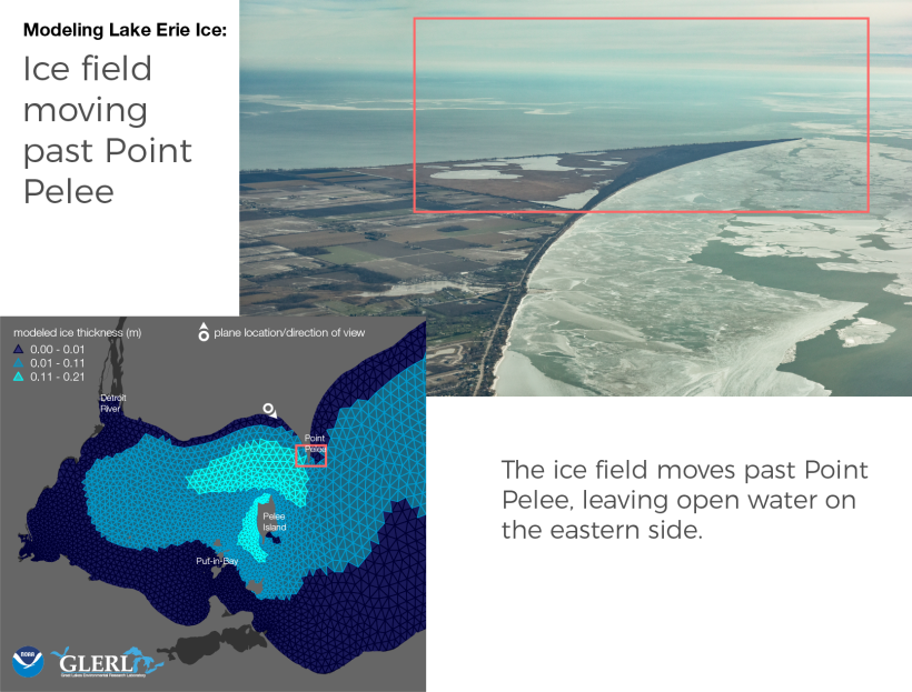 Ice field moving past Point Pelee: The ice field moves past Point Pelee, leaving open water on the eastern side.