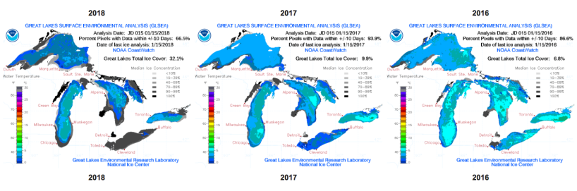 Image depicting Great Lakes total ice cover on on January 15, 2018, compared to 2017 and 2016.