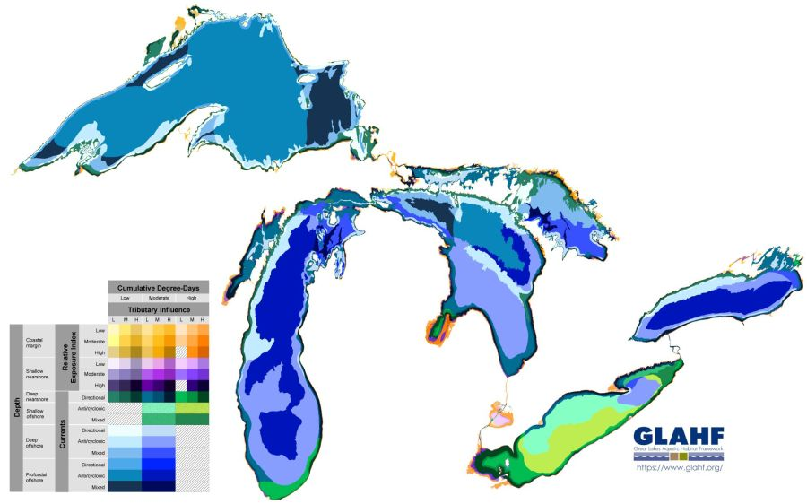 A map of the Great Lakes classifies regions that are ecologically similar.