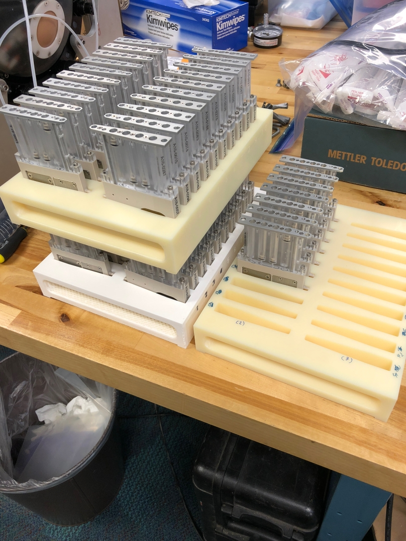 Cartridges that hold the water sample for both real-time processing, as well as an archive sample for further analysis back in the lab.