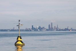 A buoy near the Cleveland Water intake—approximately 3.5 miles off the Cleveland shoreline—gives researchers at NOAA GLERL the ability to incorporate water temperature, pH, turbidity, dissolved oxygen and other parameters into their Experimental Hypoxia Forecast model. This allows water treatment managers enough time to anticipate and respond to changes in lake water quality before it is drawn into their treatment plants. Photo Credit: Ed Verhamme, Limnotech